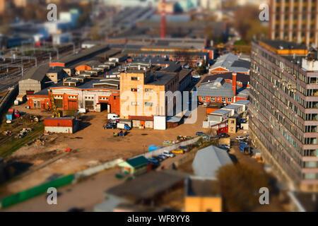 Vue panoramique sur le vieux quartier industriel de la ville avec effet Tilt-shift à Moscou, Russie
