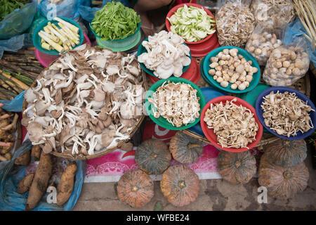 Portrait de divers champignons secs et légumes at Market Stall Banque D'Images