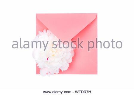Seule offre de belles fleurs de pivoine blanche sur la tête de l'enveloppe couleur corail isolé sur fond blanc. Printemps Floral concept. Carte de vœux. Banque D'Images