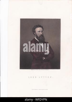 La plaque d'impression de livre / 'Lord Lytton'. Robert Bulwer-Lytton, 1er comte de Lytton. D'État anglais, homme politique conservateur, et poète. Vice-roi de l'Inde