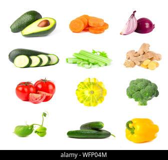 Collection de légumes frais isolé sur fond blanc. Collage des légumes mûrs et juteux isolé sur fond blanc. Close-up Banque D'Images