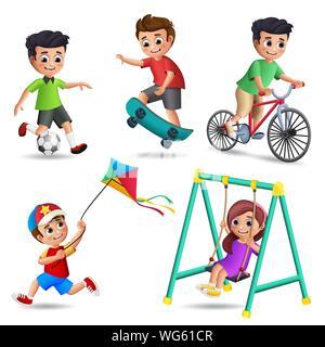 Les enfants jouant ensemble de caractères vectoriels. Les jeunes garçons et filles jouant avec plaisir des activités de plein air et les sports comme le soccer, skate, kite, swing Banque D'Images
