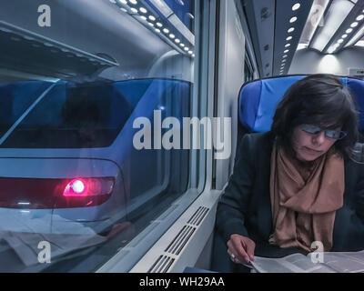 Woman Reading Book lors des déplacements en train lumineux