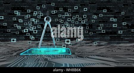 Ingénierie numérique , boussoles sur une carte avec des blocs et des hologrammes, 3d illustration Banque D'Images