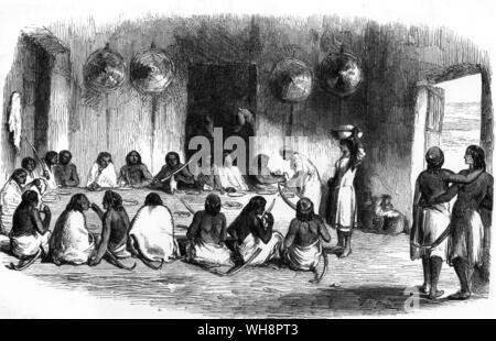 Un dîner de travail à Aduwa. À partir de la vie Parkyns en Abyssinie Banque D'Images