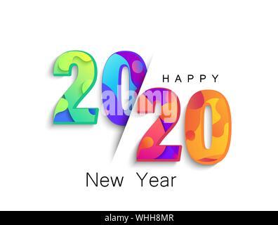 Nouvelle Année 2020 bannière couleur, logo pour vos vacances saisonnières flyers, salutations et félicitations à thème de Noël, des invitations et cartes.Template Banque D'Images