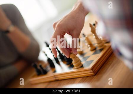 Jeu d'échecs, plan stratégique pour gagner succès concept