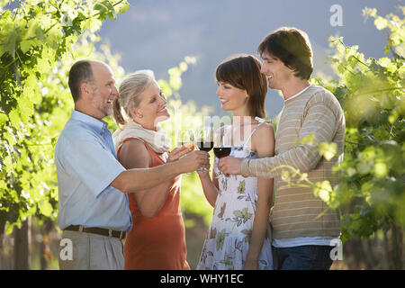 Deux couples toasting wine glasses in vineyard Banque D'Images