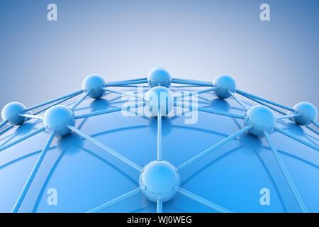 Image 3d du schéma bleu ou net.Networking et internet concept. Banque D'Images