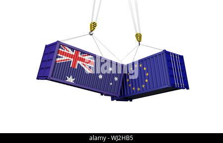 L'Australie et l'Europe, guerre commerciale concept. Des conteneurs de fret. 3D Render