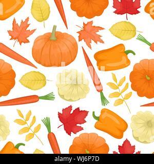 Modèle sans couture avec légumes d'automne. Citrouille, courge, poivron, carottes, et les feuilles d'automne. La récolte. Vector background. Télévision Banque D'Images