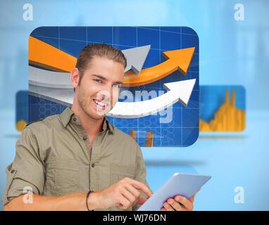Image composite de l'homme heureux à l'aide de tablet pc sur fond blanc Banque D'Images