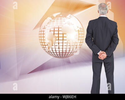 Composite image of serious businessman posing on white background Banque D'Images
