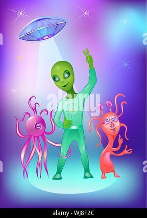 Illustration vectorielle et UFO Alien sur l'espace de couleur de l'arrière-plan Banque D'Images