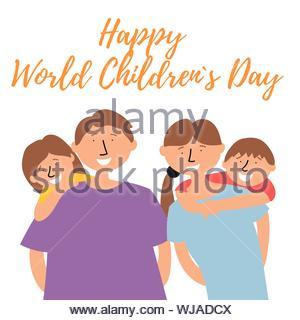 Famille avec enfants bénéficie d'un séjour en famille. La Journée mondiale des enfants. Vecteur EPS 10 illustration modifiable Banque D'Images