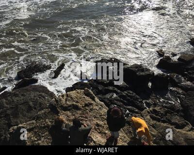 Portrait d'amis sur la roche par la mer Banque D'Images