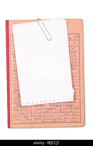 Vintage red record avec une feuille de papier vierge, isolé sur blanc. Banque D'Images