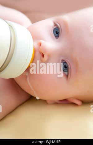 Bond petit bébé aux yeux bleus lait bouteille de boisson Banque D'Images