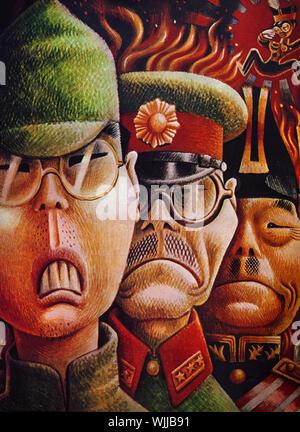 Une guerre mondiale deux illustration sur la couverture de Fortune Magazine japonais suite à l'attaque sur Pearl Harbor. Il montre un soldat japonais, le premier ministre Tojo et l'amiral Nagumo qui a organisé le raid. Flottant au-dessus de eux dans le coin est l'empereur du Japon Hirohito. Banque D'Images