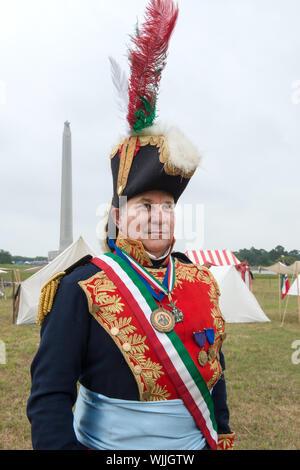 Hilario De La Pena que le général Antonio Lopez de Santa Anna à la bataille de San Jacinto annuel Festival et reconstitution de la bataille, un salon-histoire racontant et démonstration de la bataille historique de San Jacinto, la bataille décisive de la révolution du Texas. La Porte, Texas Banque D'Images
