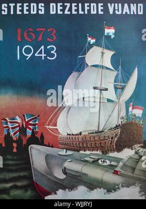 Un Allemand Seconde Guerre mondiale affiche de propagande conçu en 1943 pour les Pays-Bas occupés montrant un Allemand motor torpedo boat et un homme néerlandais o' à Londres et la guerre contre la Grande-Bretagne. Banque D'Images