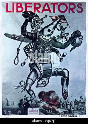 """Un SS néerlandais, la seconde guerre mondiale, une affiche prévoyant la fin de la culture européenne à partir de la soi-disant """"libérateurs"""" des États-Unis. Le SS néerlandaise a été fondée le 14 décembre 1931 par Anton Adriaan Mussert. Il a été appelé le Nationaal Socialistische Beweging (NSB - Mouvement national-socialiste). Il fut d'abord tout simplement connu sous le nom de Nederlandsche SS, qui a été remplacé par le terme plus général Germaansche SS in Nederland (ou la SS germaniques aux Pays-Bas), le 1 novembre 1942. Himmler ordonna qu'il était désormais de faire partie d'une plus grande SS germanique avec un serment de fidélité à Adolf Hitler. Banque D'Images"""