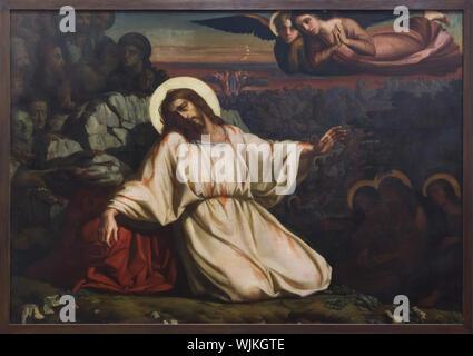 Peinture 'agonie dans le jardin' par Louis Janmot peintre symboliste français au Musée des beaux-arts (Musée des Beaux-Arts de Lyon) à Lyon, France. Banque D'Images