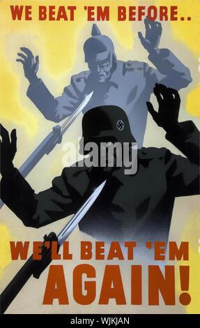 A la seconde guerre mondiale affiche de propagande encourageant la population à se tenir contre l'Adolph Hitler et le 3ème Reich Banque D'Images