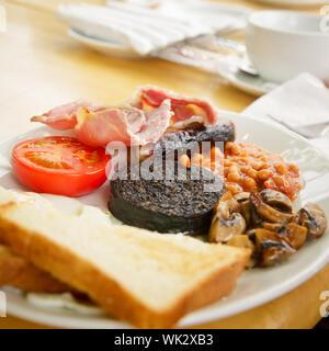 Plaque avec petit-déjeuner écossais complet contenant des toasts, œufs frits, haricots blancs, boudin noir grillé, saucisses, tomates, champignons et bacon Banque D'Images