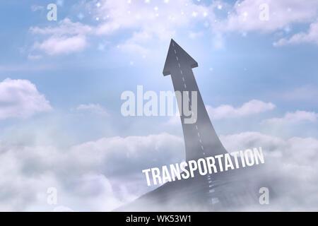 Le mot contre transport route en tournant en flèche Banque D'Images