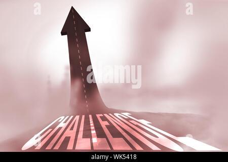 Le mot défi contre road se transforme en flèche Banque D'Images