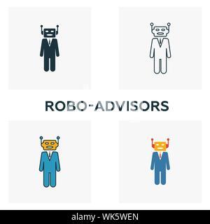 Robo-Advisors icon set. Quatre éléments dans diférents styles à partir d'icônes fintech collection. Robo-conseillers créatifs rempli d'icônes de couleur, contours, et télévision Banque D'Images