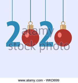 Nouvel an 2020, bleu des numéros avec noël boules rouges sur fond clair Banque D'Images