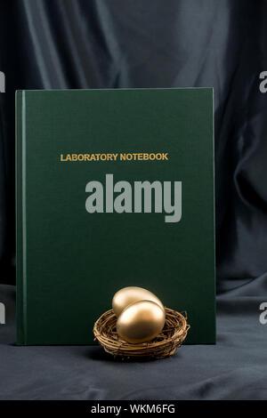 Ses réalisations par des travaux scientifiques apportent des avantages financiers symbolisé dans golden nest d'oeufs et de cahier de laboratoire Banque D'Images