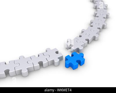 Pièces du puzzle forment un cercle mais on est différent Banque D'Images