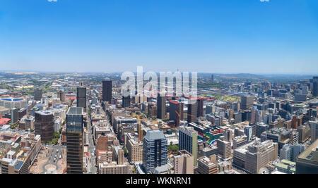 Vue aérienne sur Central Business District (CBD) de Carlton Tower, Johannesburg, Afrique du Sud. Le Carlton Tower est le plus haut bâtiment en Afrique
