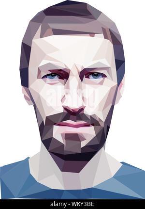 'Branchés' style poly basse tête d'homme. Concept 3D Banque D'Images