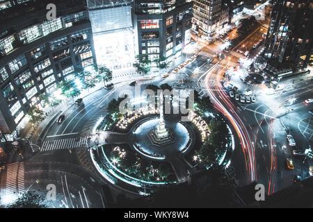 Vue aérienne de la circulation en Grande ville Banque D'Images