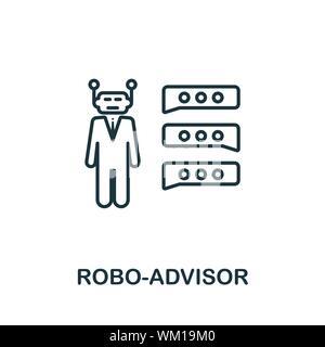 Robo-Advisor icône Contour. Fine ligne de l'élément de la technologie concept fintech icônes collection. Robo-Advisor pour l'icône de création d'applications mobiles et Web Banque D'Images
