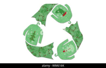 Vacances d'hiver de noël vêtements recycle symbol made tissu réutilisés textures, swap, vêtements de mode durable concept Banque D'Images