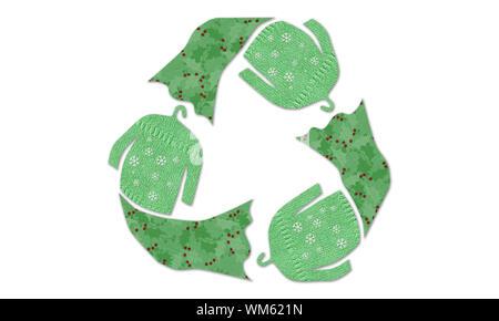 Les cavaliers d'hiver vêtements recycle symbol made réutilisés, textures tissu vêtements swap, la mode durable concept, zéro déchets semaine Banque D'Images