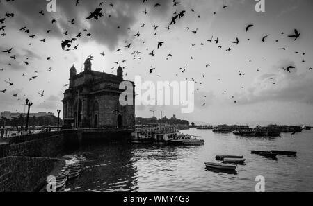 Birds flying over porte de l'Inde et des bateaux sur la mer Banque D'Images