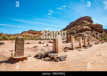 Le vieux cimetière tombes, ville fantôme, Grafton près de Springdale, en Utah, USA Banque D'Images