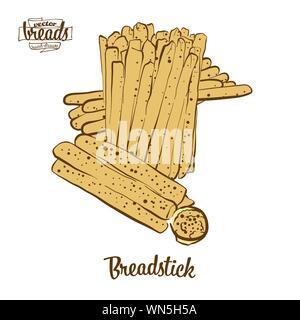 Dessin couleur de longuet le pain. Illustration Vecteur de pain sec de la nourriture, habituellement connu en Italie. Pain de couleur des croquis.