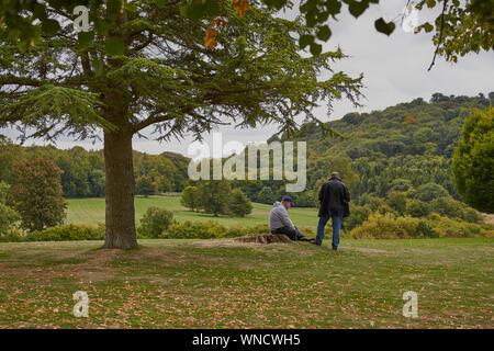 Deux hommes ensemble sous un arbre l'un assis et un debout dans la campagne anglaise