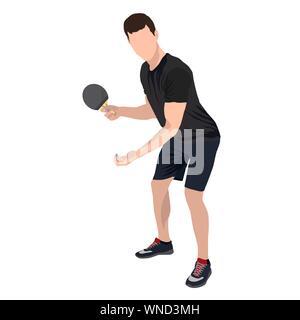 Joueur de tennis de table avec rotule et racket, télévision vecteur illustration isolé Banque D'Images
