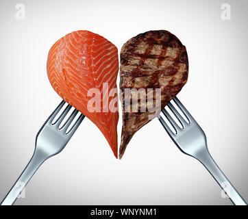 Surf and Turf concept comme la viande et les fruits de mer et steak ou symbole du saumon comme un repas gastronomique dans un restaurant fish coupes de boeuf avec 3D illustration. Banque D'Images