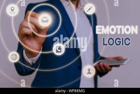 Main conceptuel écrit, indiquant l'émotion de la logique. Sens Concept coeur ou du cerveau ou l'intelligence de l'âme de la confusion l'équilibre Banque D'Images