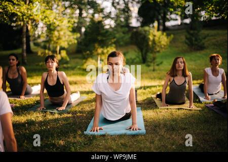 Groupe de jeunes femmes s'étirent dans Cobra exercice Pose Banque D'Images