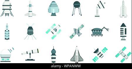 La technologie de recherche spatiale icons set. Télévision ensemble de la technologie de recherche spatiale vector icons pour web design Banque D'Images